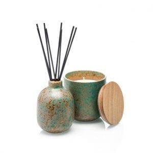 ISHI - Home Geurstokjes - Groene thee en Jasmijn - vaasje en kaars | Zussb