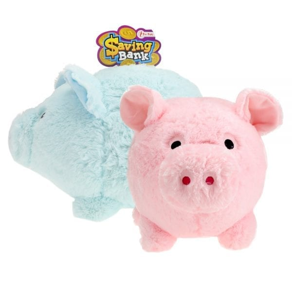 Saving Bank - Pluche Spaarvarken Roze en Blauw | Zussb
